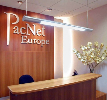 Pacnet Europe, Shannon, Ireland, reception and boardroom signage